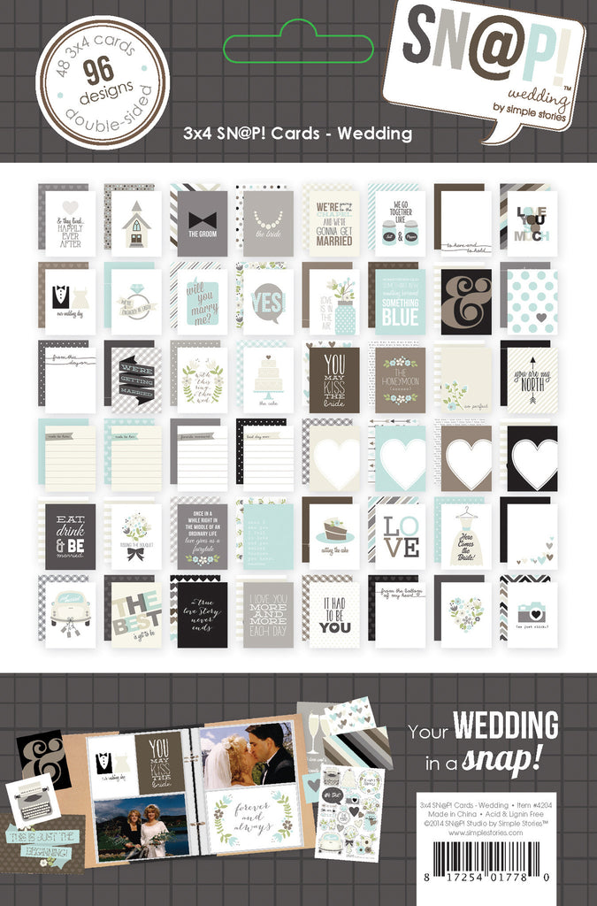 Simple Stories - Wedding - 3 x 4 Snap Cards