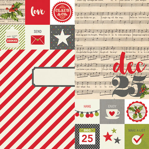 Simple Stories Claus & Co collection 12 x 12 Double Sided Cardstock
