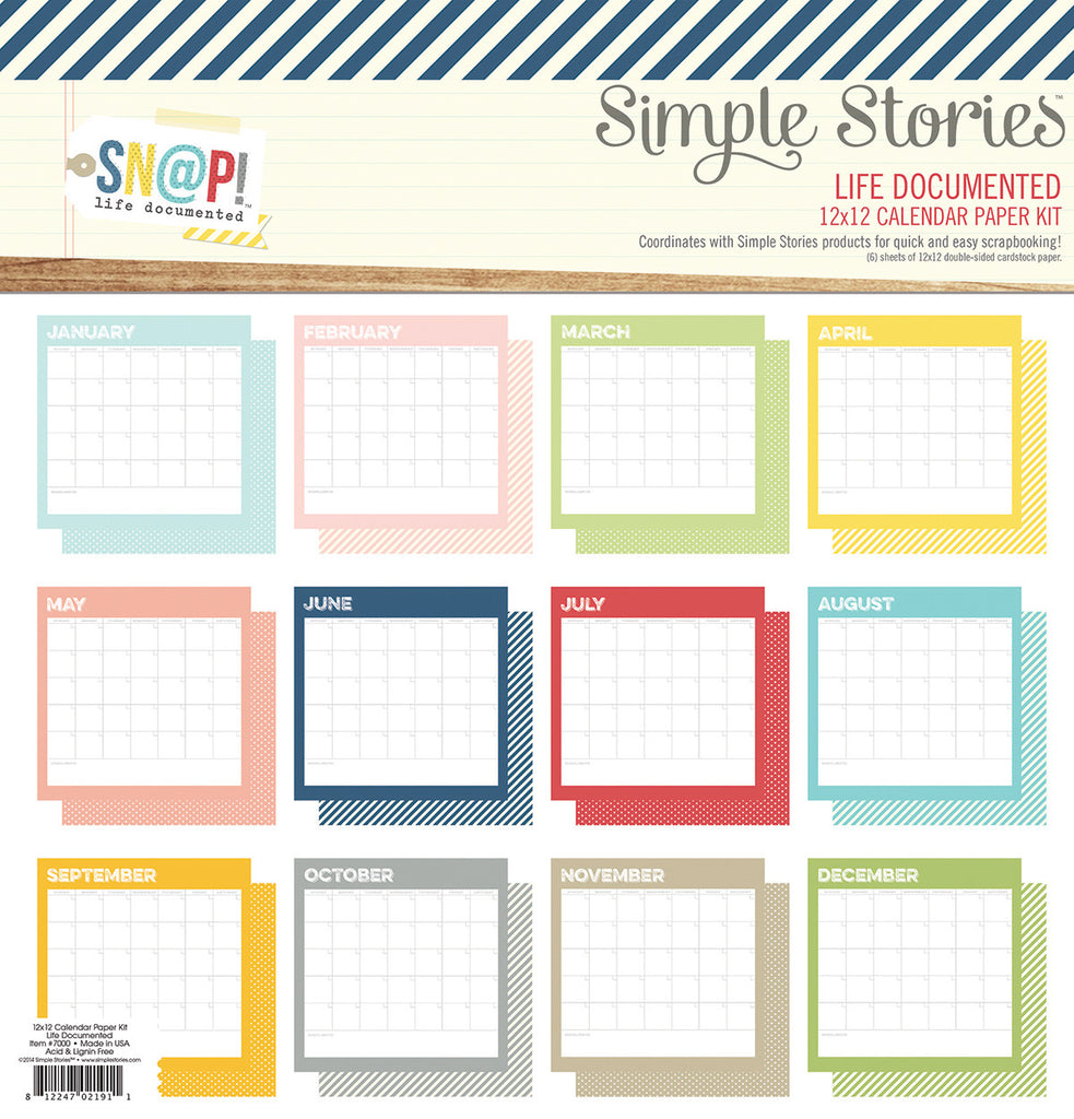 Simple Stories Life Documented 12 x 12 Calendar Paper Collection