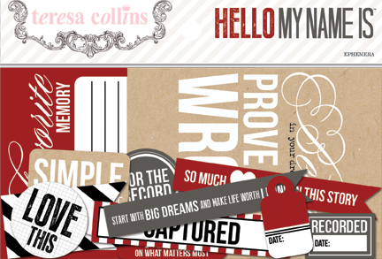 Teresa Collins - Hello My Name Is - Ephemera Pack