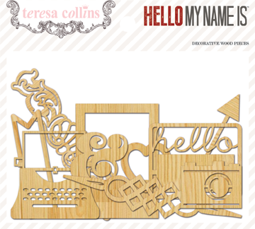 Teresa Collins - Hello My Name Is - Die Cut Wood Embellishments