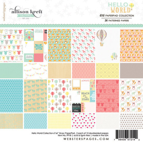 Websters Pages Hello World 6 x 6 double-sided paper pad