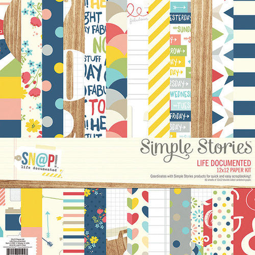 Simple Stories Life Documented 12 x 12 scrapbook collection paper pack