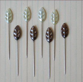 Maya Road - Vintage Leaf Pins, Pearl & Brown