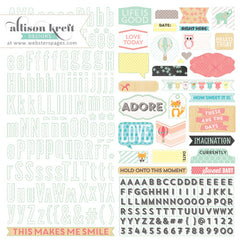 Websters Hello World 12 x 12 Alpha Sticker Sheet