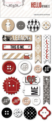 Teresa Collins - Hello My Name Is - Decorative Buttons