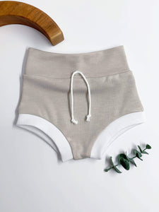 Bohemian Babies - High Waisted Shorties: Oatmeal - Little Adi + Co.