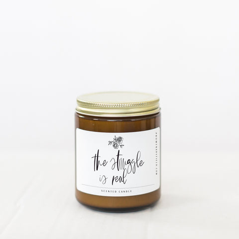 Promenade Field - 8 oz The Struggle Is Real Soy Candle - Amber - Little Adi + Co.