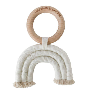 Chewable Charm - Rainbow Macrame Teether- Cream - Little Adi + Co.