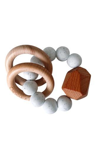 Hayes Silicone + Wood Teether Ring - Moonstone - Little Adi + Co.