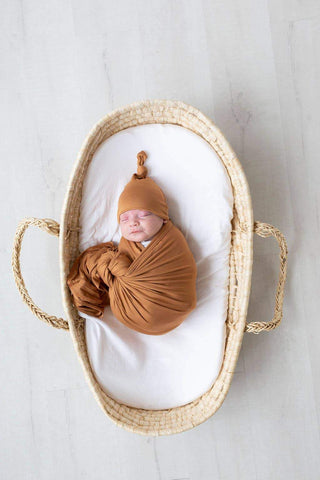 Stroller Society - Preorder Swaddle Blanket & Newborn Baby Hat - Camel - Little Adi + Co.