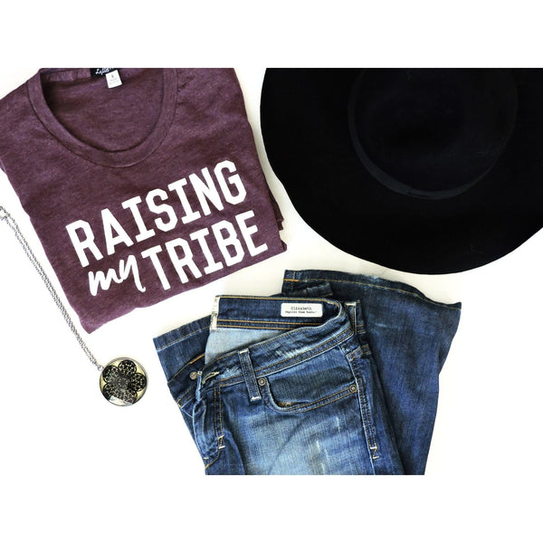 "Adult ""Tribe"" Heather Plum Tee (only SML left!) - Little Adi + Co."