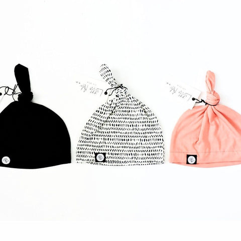 Infant Knot Beanie - Black or Peach