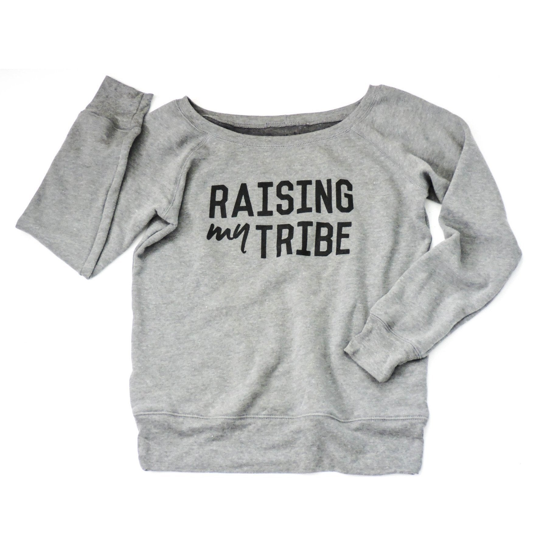 "Adult ""Tribe"" Fleece Wide Neck Sweatshirt"