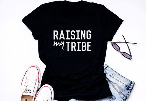 "Adult ""Tribe"" Black Tee - Little Adi + Co."