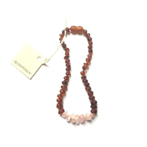 CanyonLeaf - Raw Cognac Amber + Raw Rose Quartz || Necklace - Little Adi + Co.