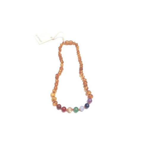 CanyonLeaf - Raw Honey Amber + Chakra Crystals || Necklace - Little Adi + Co.