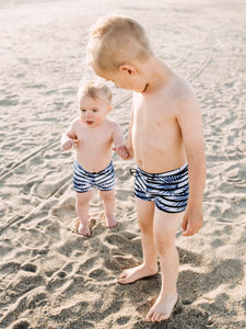 SWIM Trunks -  Palm Stripe - Little Adi + Co.