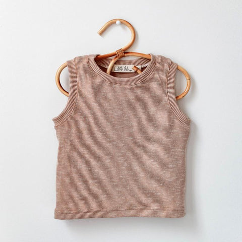 Rib Muscle Tank | khaki - Little Adi + Co.