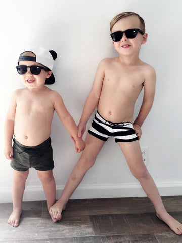 SWIM Trunks -  Wide Blk Stripe - Little Adi + Co.