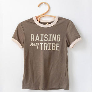 "Adult ""Tribe"" Ringer Tee - Olive - Little Adi + Co."