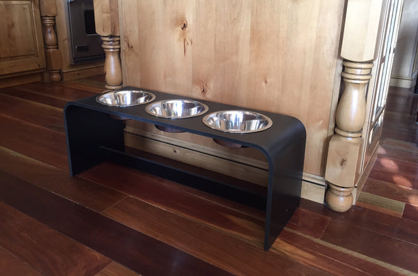 12 Inch Elevated Triple Bowl Feeders Perfect For 2 Dogs