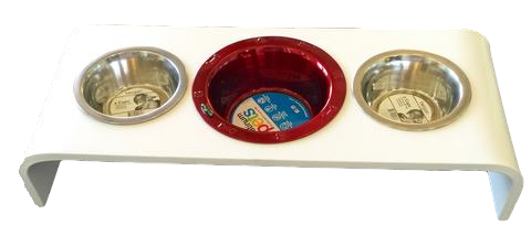 4 Inch Elevated Feeder Triple Bowl Feeder For the TWO Pet Family: RED BOWL