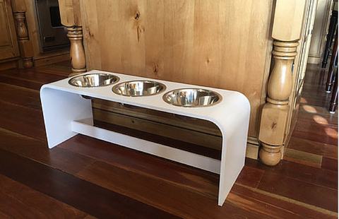 12 Inch Elevated Triple Bowl Feeders Perfect for the TWO Pet Family!