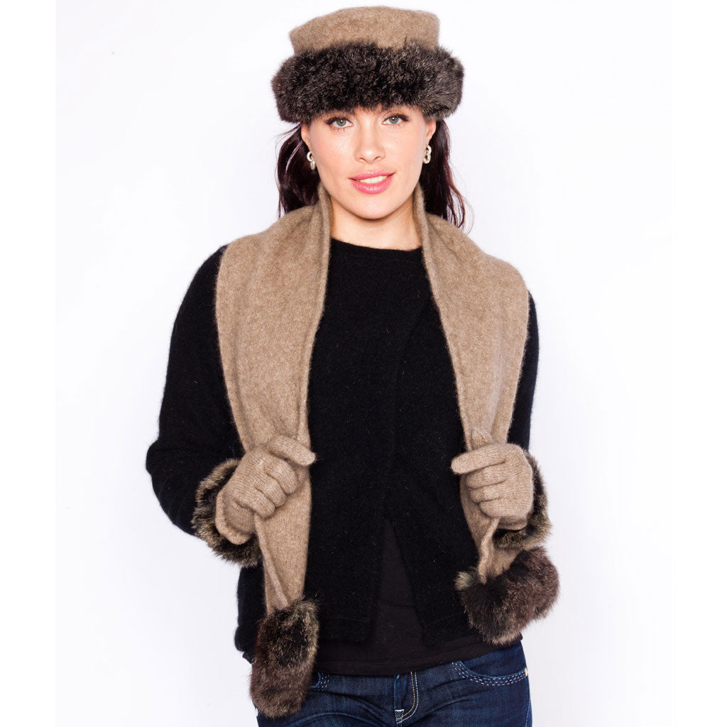 fur trim HAT and SCARF