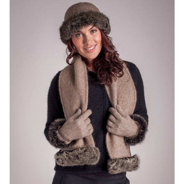 fur trim BEANIE and SCARF