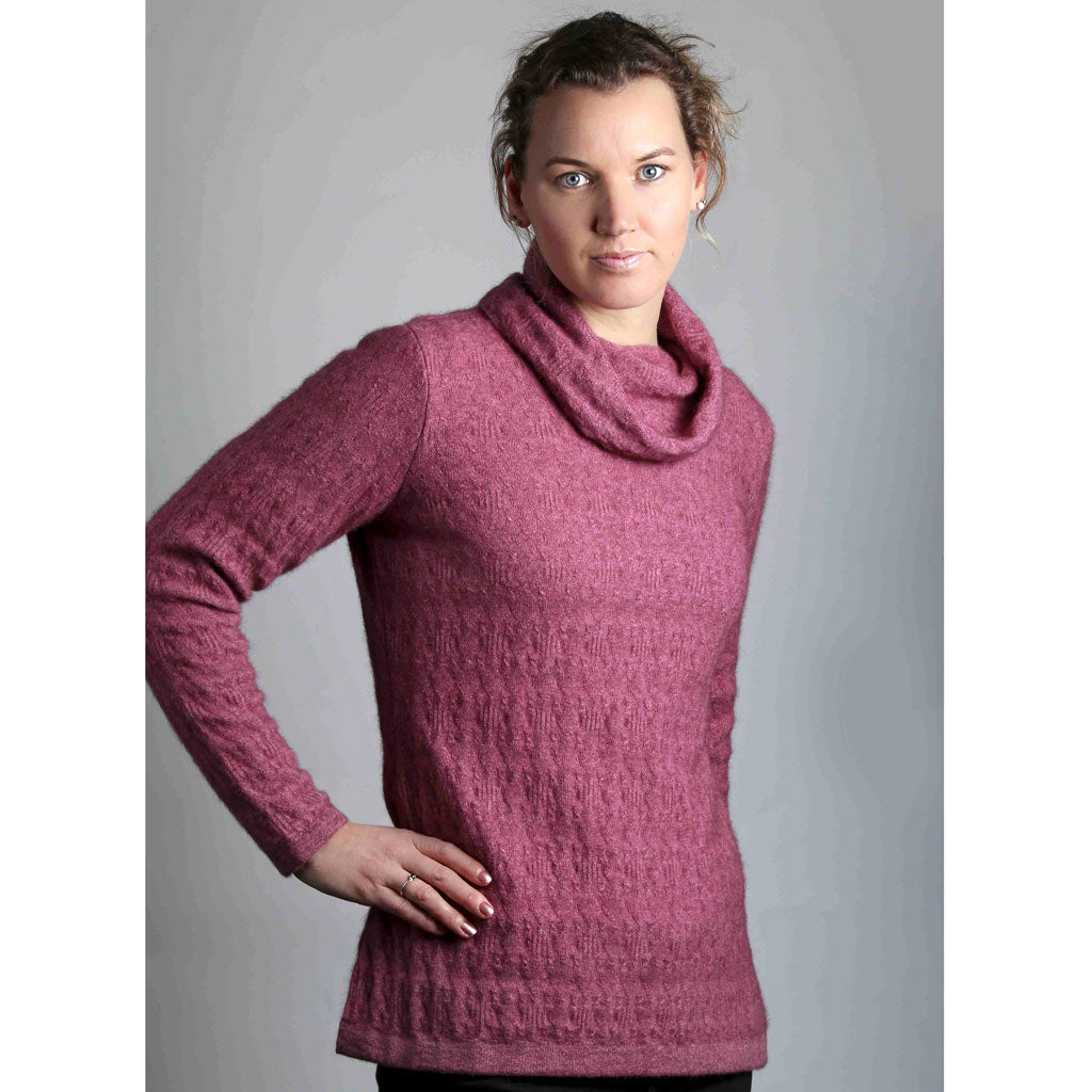KORU MERINO POSSUM TEXTURED COWL NECK SWEATER