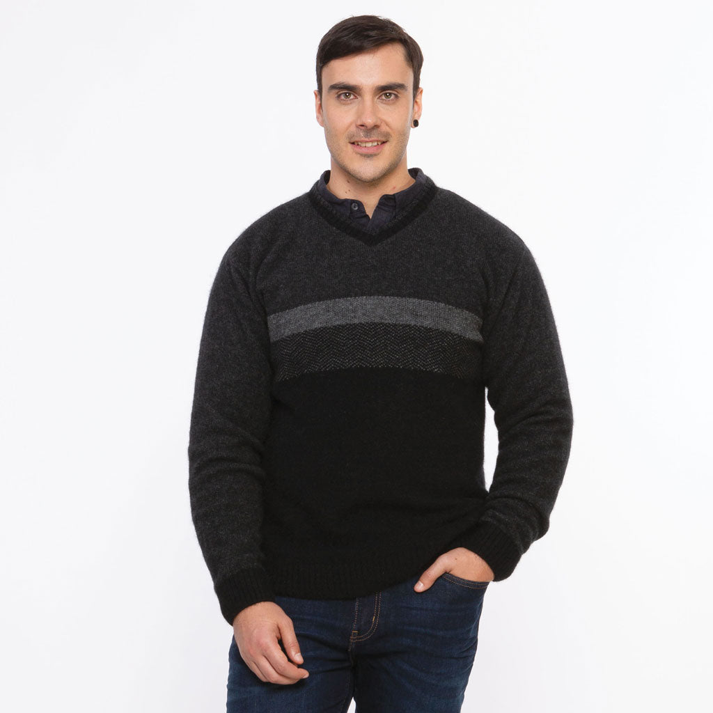 KORU MERINO POSSUM three COLOR JUMPER