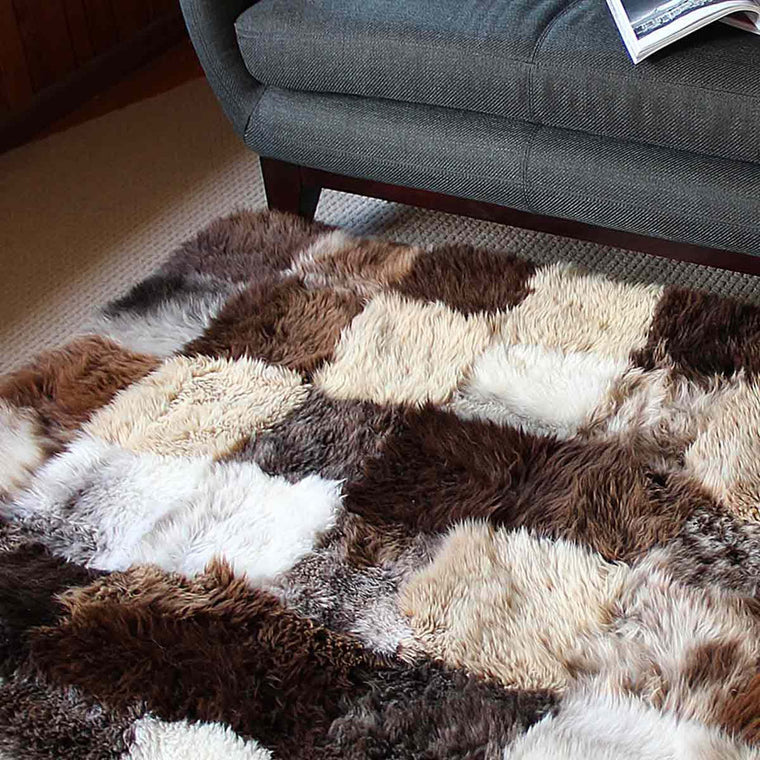 natural black sheepskin RECTANGLE RUG