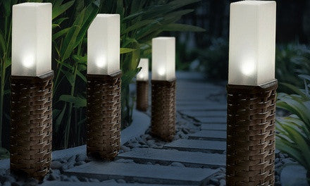 Four- or Eight-Pack of Woven Rattan Post Solar Lights
