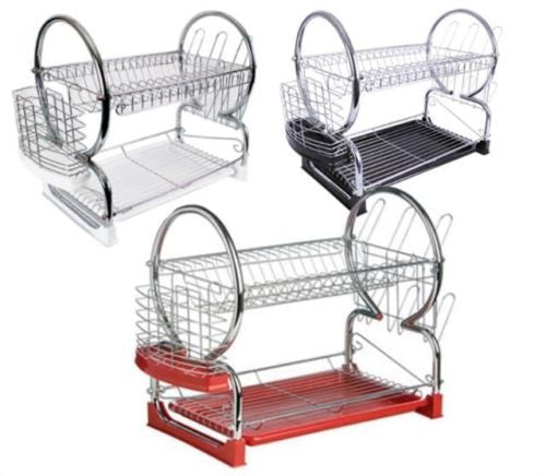 2 TIER CHROME DISH DRAINER RACK STORAGE KITCHEN COOKING DRYING PLATES CUTLERY