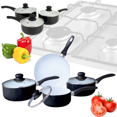 7 PIECE CERAMIC COATED COLOUR FRYING PAN SET