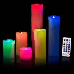 6 x DRIP Colour Changing FLICKERING FLAME LED FLAMELESS WAX MOOD CANDLES