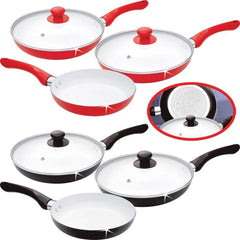 5 PC CERAMIC PAN SAUCEPAN SET FRYING GLASS LIDS COOKING KITCHEN NON STICK
