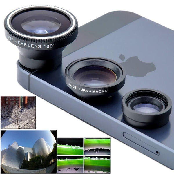 Camera Set Fish Eye Wide Angle Macro Lens For Iphone Htc