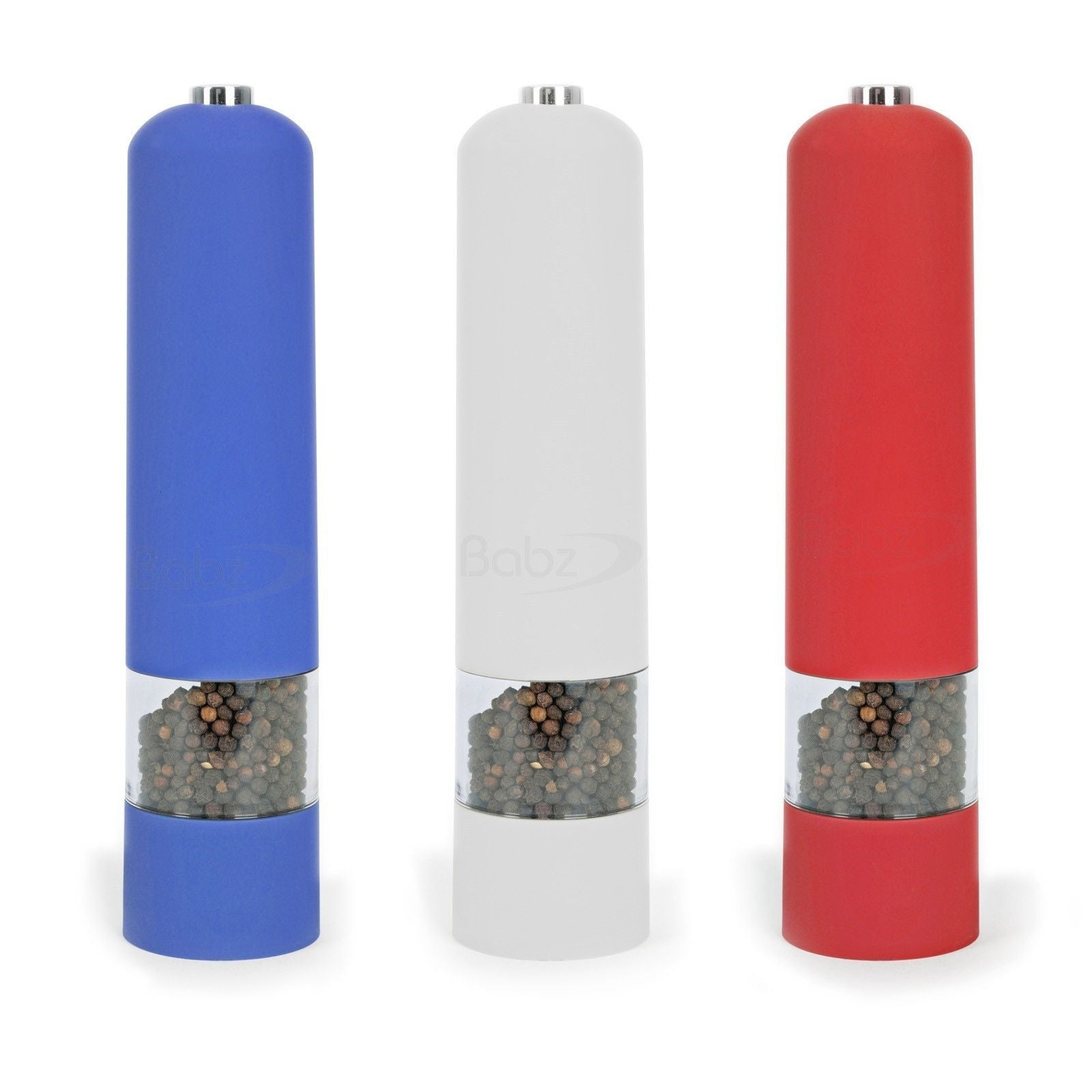Blue / Red / White ABS Electric Electronic Salt Pepper Mill Grinder Pots