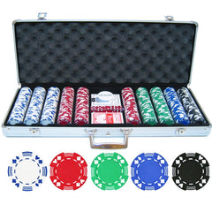 CASINO POKER CHIPS SET TEXAS HOLD EM CARDS GAME IN CASE