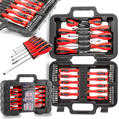 58 PCE SCREWDRIVER AND BIT TOOL KIT SET PRECISION SLOTTED TORX PHILLIPS
