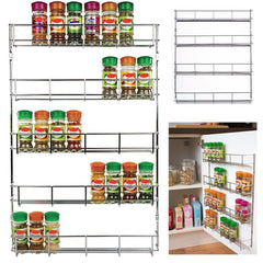 32pc Chrome 4 Tier Spice Rack Jar Holder for Wall or Kitchen Cupboard Storage