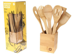6 PIECE WOODEN BAMBOO ANTI BACTERIAL COOKING UTENSILS KIT WITH BAMBOO HOLDER