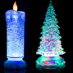 24cm SWIRLING LED COLOUR CHANGING FLAMELESS FLICKERING GLITTER CANDLE