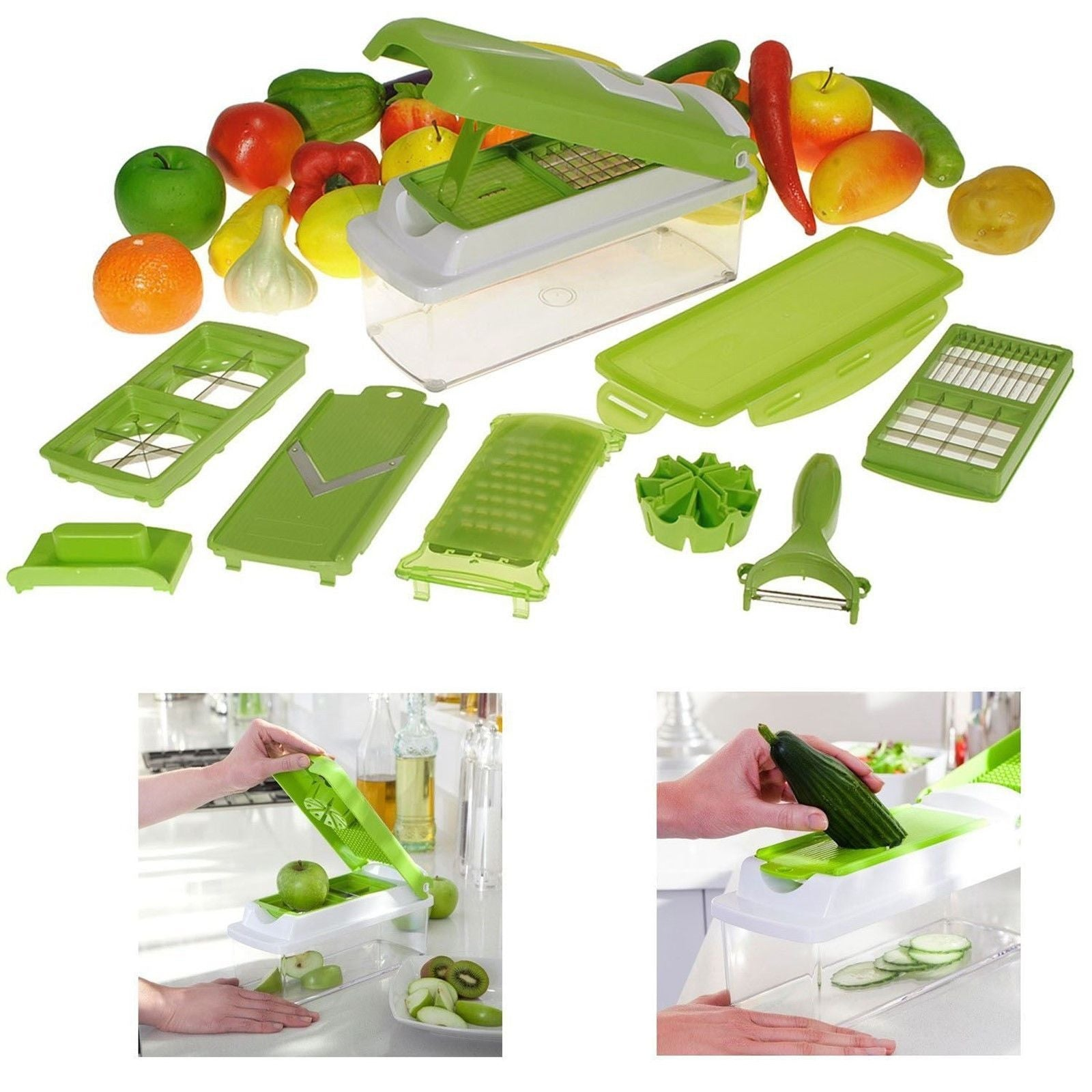 DELUXE SLICER DICER FRUIT VEGETABLE FOOD SALAD CHOPPER CUTTER PEELER GRATER