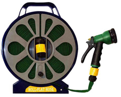 50FT FLAT HOSE GARDEN REEL 15M HOSEPIPE WITH FREE 7 FUNCTION SPRAY GUN NOZZLE
