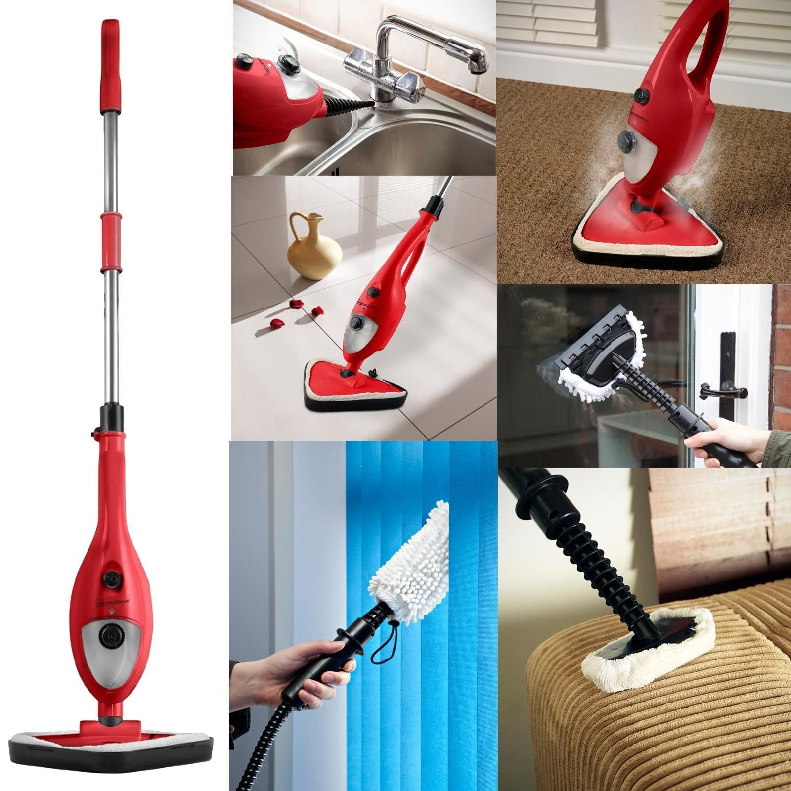 6 in 1 Steam Cleaner Floor Kitchen Carpet Handheld Steamer Mop