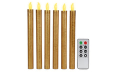 6 Pack Flameless Golden Candles with Remote