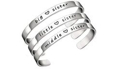 Engraved Sister Cuff Bangle
